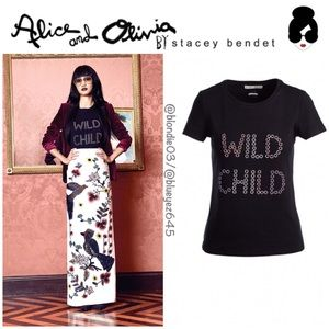 "Alice & Olivia ""Rylyn"" Wild Child T-shirt Top M"